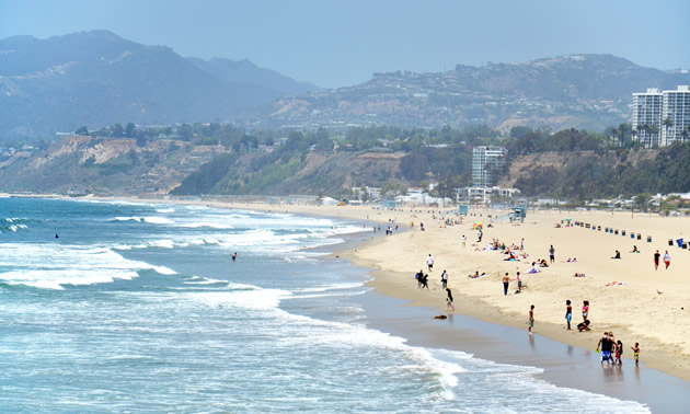 Santa Monica Beach near downtown Los Angeles