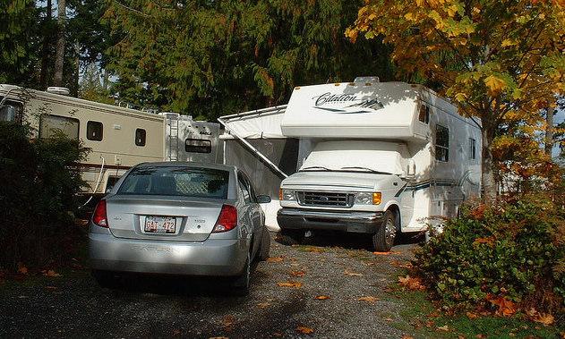 Lynne Benjamin's motorhome at it's spot in Nanaimo, B.C.