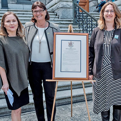 Pictured from left: Paula Amos, Indigenous Tourism BC; Marsha Walden, Destination BC; Amy Thacker, CCCTA; Hon. Minister Lisa Beare, Tourism, Arts & Culture.