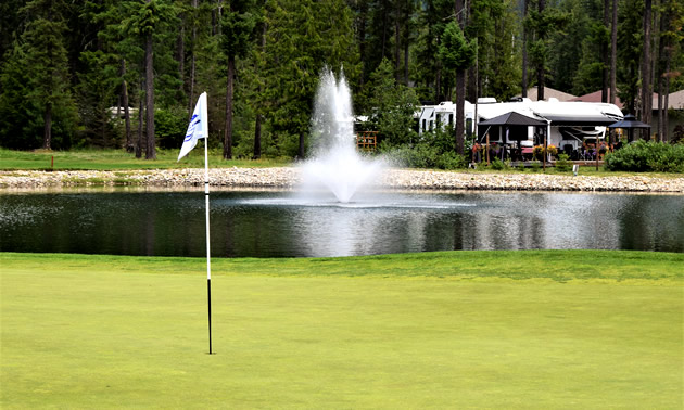 A view of Mabel Lake Resort's golfing green and RV park.