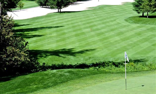 A view of Mabel Lake Resort's golfing green.