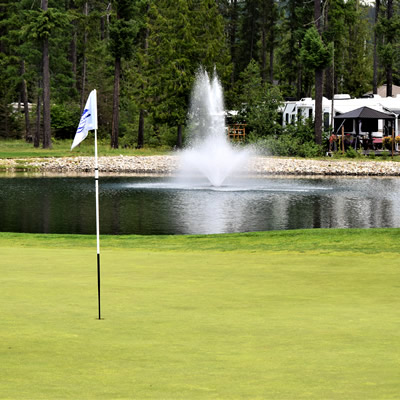 A view of Mabel Lake Resort's golfing green.