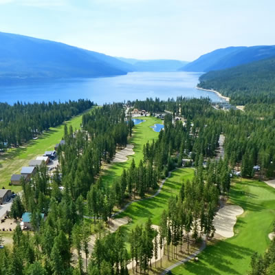An aerial view of scenic Mabel Lake in the Shuswap.