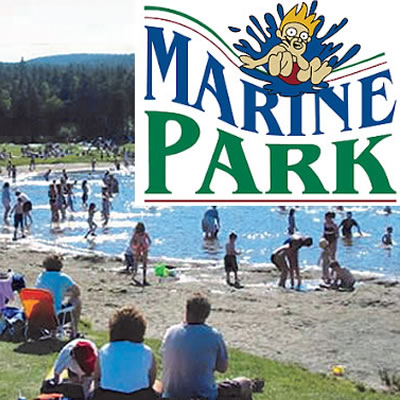 Picture of people on a beach at Marine Park, with logo of company in upper right corner.