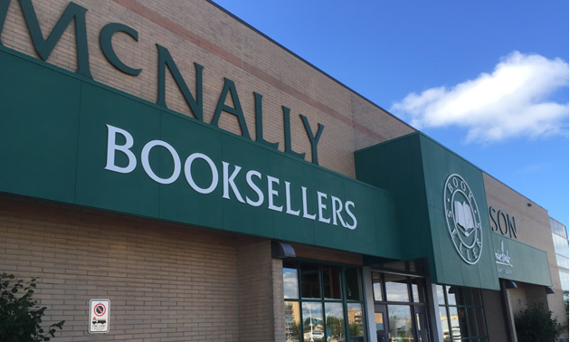 Outside of the McNally Robinson bookstore in Winnipeg, MB.