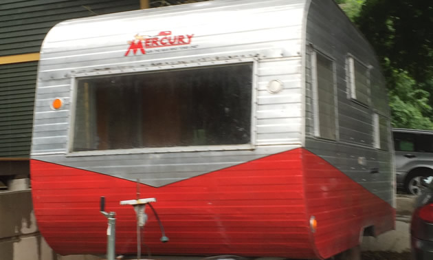 A vintage Mercury travel trailer spotted on a side street in Nelson, B.C.