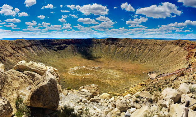 The meteor crater near Winslow, Arizona.