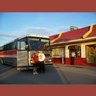 Mike O'Connor (left) and Barry Vestby (right) convinced the tour bus driver to drive through an Alaskan McDonald's drive-thru and place an order.