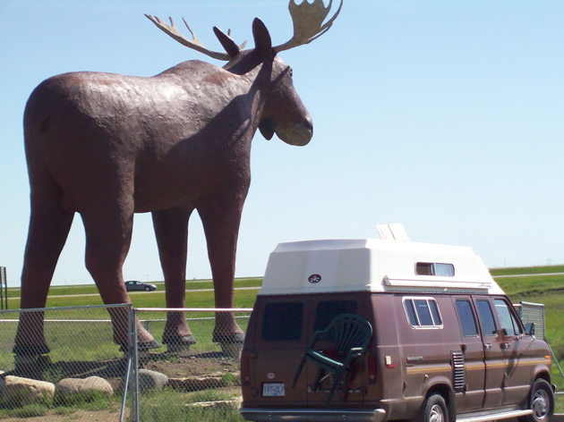 The Moose Jaw moose statue, and a campervan