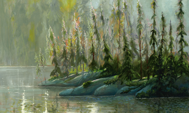 Painting of trees and water done in soft greens and grays