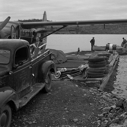 WardAir float plane dock in Yellowknife NWT, circa 1956.