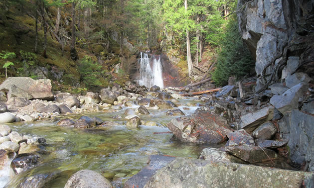 Gardener Creek Falls is located just off the road on the way to the Nakusp Hot Springs.