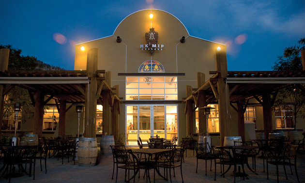 Nk'Mip Cellars winery has a beautiful patio restaurant overlooking its vineyards and Osoyoos Lake.