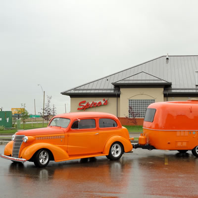 A beautifully restored retro Boler trailer and matching classic car, owned by J.J. McColm.