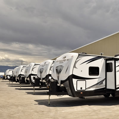 Freshly manufactured trailers await new owners.