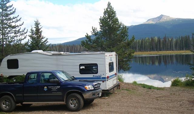 Truck and RV at a lake