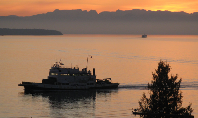 Two silhouetted boats glide past an orange sunset in Powell River, B.C.