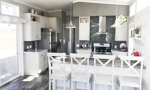 The kitchen area in a Best Buy Homes park model.