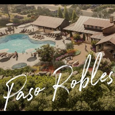 An aerial view of the Cava Robles RV Resort in Paso Robles, CA.