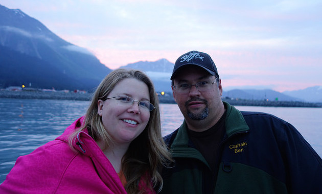 Ben and Rebecca Pazdernik are watching fireworks from a boat in Seweard, Alaska.