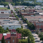 An ariel view of Prince Albert shows red brick buildings interspersed with attractive green space.