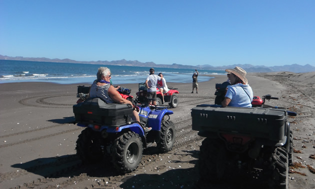 Sea and sky make a beautiful backdrop for quad riders on the beach