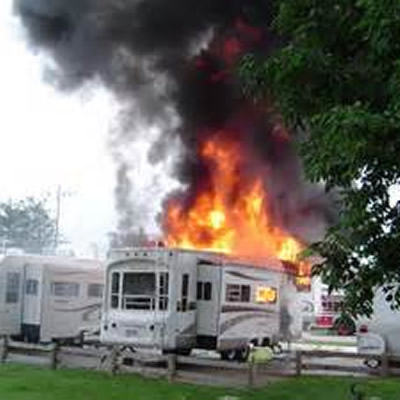 RV on fire.