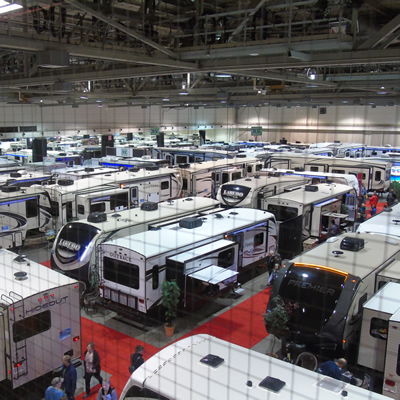 The BMO Centre in Calgary's Stampede Park was full to overflowing with RVs and RVers during the 2018 Expo & Sale.