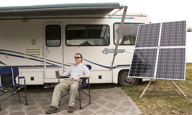 Catching the rays alongside an RV's portable solar system.