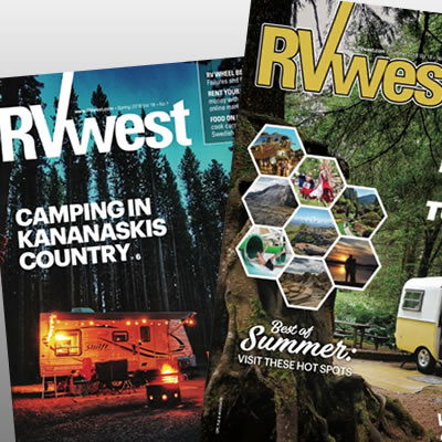 Covers of RVwest magazine.
