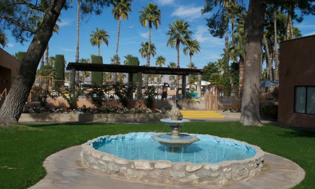 Fountain at main gate of resort.