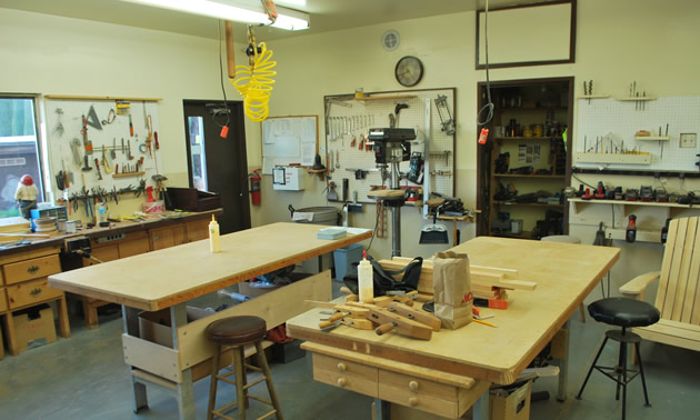 Interior of woodworking shop.