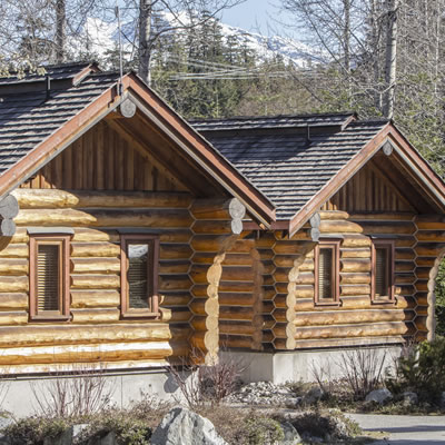 The cabins at Riverside RV Resort are made of Western cedar logs.
