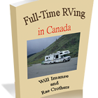 A cover shot of Full-Time RVing in Canada featuring a photo of an RV and author's names.
