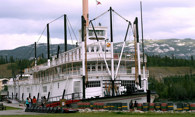 A historic ship, called the S.S. Klondike, is moored in Dawson City. Public tours are available.