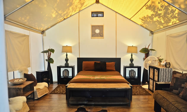 Inside of safari tent, with nice bed and furnishings.