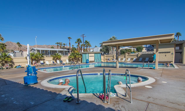 Saltwater pool at Fountain of Youth Spa RV Resort.