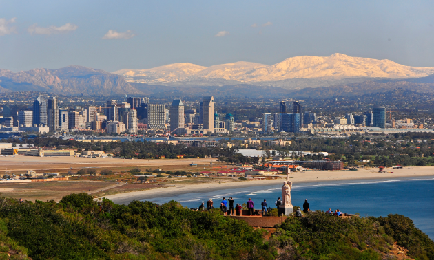 San Diego's stunning skyline is seen from Cabrillo National Monument at Point Loma.