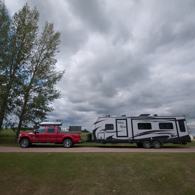 Nokomis, Saskatchewan, has fully serviced sites for $15 a night.