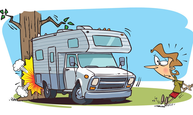 Cartoon picture of camper backing into tree.
