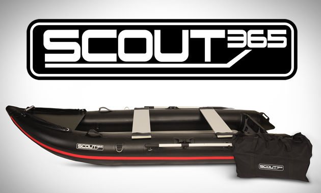 Picture of boat and logo of Scout Inflatables.