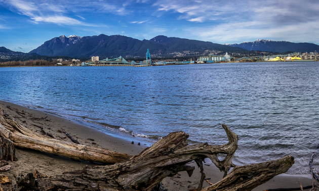 The view of North Vancouver, as seen from Stanley Park. The Seawall at Stanley Park offers 10 kilometres of ocean views.