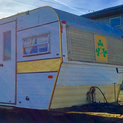 A 1970's Shamrock travel trailer.