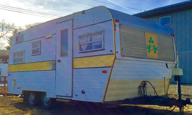 A 1970's Shamrock travel trailer.