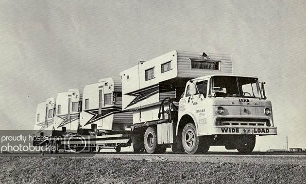 A vintage picture of TeePee trailers being delivered to a dealership in western Canada.