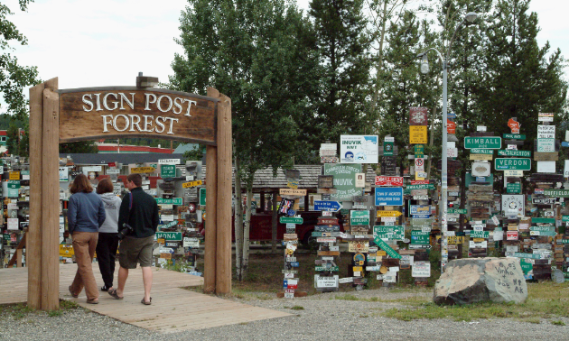 Watson Lake's Sign Post Forest's entrance is pictured