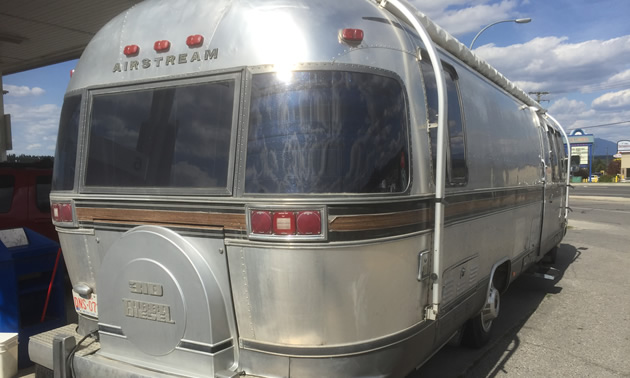 Back view of the Airstream motorhome.