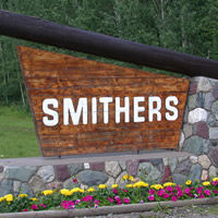 Rock and wood sign for Smithers