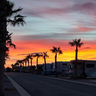 A gorgeous, colourful sunset is seen from Palm Creek in Arizona.