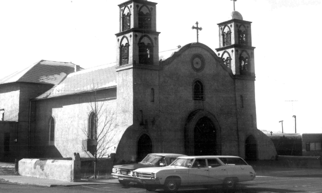 The historic San Miguel Church on the City of Socorro Historic Walking Tour.